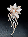 Brooches Rhinestone Floral Costume Jewelry Rhinestone Alloy Jewelry For Party Casual