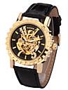 남성 아가씨들 남여공용 스포츠 시계 드레스 시계 스켈레톤 시계 패션 시계 손목 시계 기계식 시계 스위스 디자이너 오토메틱 셀프-윈딩 천연 가죽 밴드 참 캐쥬얼 멀티컬러