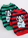 Dog Shirt / T-Shirt Dog Clothes Cute Casual/Daily Cartoon Red Green
