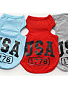 Dog Shirt / T-Shirt Vest Dog Clothes Casual/Daily Letter & Number Gray Red Blue