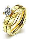 Concise Gold Color Titanium Steel Imitation Drill 2 in 1 Band Wedding Ring Set Jewellery for Women Accessiories