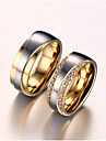 Couple\'s Couple Rings AAA Cubic Zirconia Imitation Diamond Love Bridal Costume Jewelry Zircon Titanium Steel Gold Plated Love Jewelry For