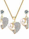 Набор украшений Искусственный жемчуг Стразы Мода Euramerican Сплав В форме сердца 1 ожерелье 1 пара сережек Для Повседневные 1 набор