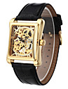 WINNER® Men\'s Square Gold Dial Black Leather Band Manual Mechanical Skeleton Wrist Watch Cool Watch Unique Watch Fashion Watch