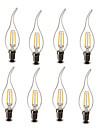 2W E14 LED Candle Lights CA35 2 COB 200 lm Warm White Decorative AC 220-240 V 8 pcs