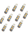 10Pcs T10 W5W 9 SMD 5050 LED Autocar Light Bulb Warm White DC12V