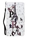 Para Case Tampa Carteira Porta-Cartao Com Suporte Flip Estampada Corpo Inteiro Capinha Torre Eiffel Rigida Couro Ecologico para SamsungJ5