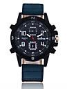 Men\'s Sport Watch Quartz Large Dial Leather Band Cool Black Blue Brown Green Purple Khaki