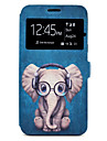 Case For Samsung Galaxy J5(2017) J3(2017) Cartoon Elephant Pattern Window Clamshell PU Leather Case with Stand and Card Slot J7(2016) J5(2016)