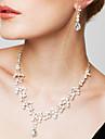 Femme Set de Bijoux Boucles d\'Oreille Colliers/Sautoir Mode Elegant bijoux de fantaisie Zircon Strass Plaque argent Imitation Diamant