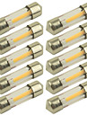 10pcs 31MM COB White/Warm/Blue Chips C5W Car Interior Glass Lens Festoon Dome Reading LED DC12V