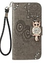 For Case Cover Card Holder Wallet Rhinestone with Stand Flip Embossed Pattern Full Body Case Owl Hard PU Leather for Huawei Huawei P10