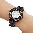 Frauen Holz analoge Quarz-Armbanduhr (schwarz)