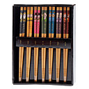 Japanese Seven Lucky Gods Pattern Bamboo Chopsticks (7-Pair)