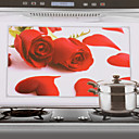 75x45cm Red Rose Pattern Oil-Proof Water-Proof Kitchen Wall Sticker