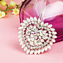 Double Layer Heart Patter Pearl Border Brooch