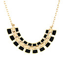 Half-Circle Three Row Square Necklace(Assorted Color)