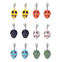 Lureme®Colorful Turqoise Skull Pendant Earrings(Random Color)