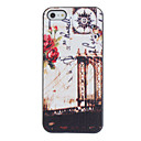 Vintage Flower and Communication Line Pattern PC Hard Case with Black Frame for iPhone 5/5S