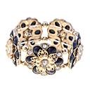 Lureme Vintage Resin Stone Flowers Elastic Bracelet