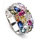 Мода 925 серебряный позолоченный кольцо Медь Циркон