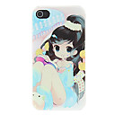 Girl with Big Eye Reading Book Pattern Matte Designed PC Hard Case for iPhone 4/4S