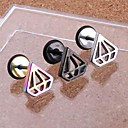 Lureme®316L Surgical Titanium Steel Electroplating Hollow Out Pyramid Single Stud Earrings (Random Color)