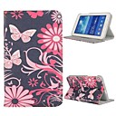Flowers Folio Stand Auto Sleep/Wake UP Leather Case for Samsung Galaxy Tab 3 Lite T110