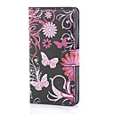 Black Butterflies Pattern PU Leather Case with Stand and Card Slot for Huawei Ascend P7