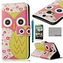 COCO FUN® Pink Flower Owl Pattern PU Leather Full Body Case with Screen Protector, Stylus and Stand for HTC One M8