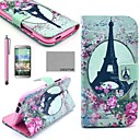 COCO FUN® Rose Flower Eiffel Pattern PU Leather Full Body Case with Screen Protector, Stylus and Stand for HTC One M8