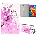 \Pink Flowers Pattern Folio Stand Auto Sleep/Wake Leather Case for Samsung Galaxy Tab 4 7.0 T230