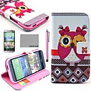 COCO FUN® Pink Cute Owl Pattern PU Leather Full Body Case with Screen Protector, Stylus and Stand for HTC One M8