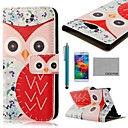 COCO FUN® Red Owl Pattern PU Leather Case with Screen Protector, Stylus and Stand for Samsung Galaxy S5 I9600