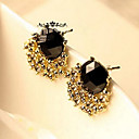 European Diamate (Gem) Golden Alloy Stud Earrings (1 Pair)