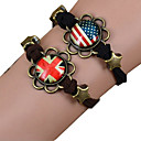 Galaxy Retro Handmade DIY Lover Time Multicolor Alloy Glass Leather Warp Bracelet(1 Pc)(Black,Brown)(As Picture 5)
