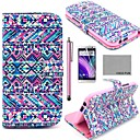 COCO FUN® Purple Tribal Carpet Pattern PU Leather Full Body Case with Screen Protector, Stylus and Stand for HTC One M8