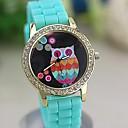 Женские Красочные ретро Сова Алмазные Числа силиконовой лентой кварцевые наручные часы (разных цветов)