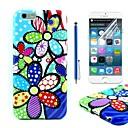 Цвет цветочным узором ТПУ Мягкая обложка с защитной пленкой и стилусом для iPhone 6