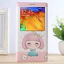 Мультфильм бантом Девушка Pattern экрана Видимый искусственная кожа Smart Auto-Sleep микросхем для Samsung Galaxy Note 3