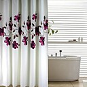 Современные чернила фиолетовый цветочный Персик Отделка Душ занавес