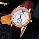 Женская Элитный Тренд Круглый циферблат Алмазный Натуральный кожаный ремешок Мода Кварц Браслет Watch (разных цветов)