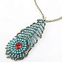 Урожай голубой перо Подвеска длинное ожерелье свитер цепи