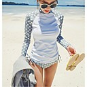 Women Diving Suit UV Swimsuit Bikini Conjoined Sun-protective Swimwear Jellyfish Long-sleeve Wetsuit Suits=Top+Pants