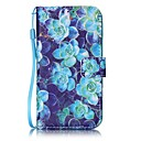 Blue Begonia Painted PU Leather Material of the Card Holder Phone Case for iPhone 7 7plus 6S 6plus SE 5S