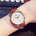 Damen Armbanduhr Armbanduhr Quarz Lederband Rot Braun Rosa Violett