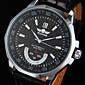 Men's Auto-Mechanical Black Leather Band Wrist Watch