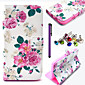 Beautiful Rose Flower Pattern PU Leather Case with Anti-dust Plug and Stylus for Wiko Lenny