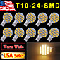 10 X Warm White T10 Wedge RV Landscaping 24-SMD LED Light bulbs W5W 921 168 194